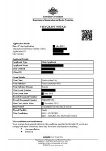 australijska wiza grant notice przyklad